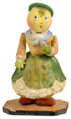 Papier-Mache CANDY Container  with CAULIFLOWER Body, RADISH Arms, CARROT Feet. Sold for $4,312.00!