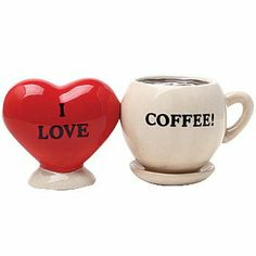 """I Love Coffee Salt & Pepper Magnetic Shaker Set . $13.99. Unique salt and pepper shakers for those who """"heart"""" coffee! A small magnet holds them together for display on table, countertop, or collectibles shelf. Each about 2.25""""H."""