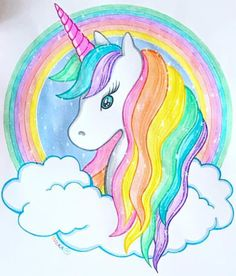 My First Unicorn Coloring Book. Perfect entertainment for your little ones,keep them coloring for hours with this Coloring Book with 31 Unicorn drawings! Unicorn Coloring Book for Kids Unicorn Painting, Unicorn Drawing, Unicorn Art, Cute Unicorn, Rainbow Unicorn, Drawing Drawing, Drawing Tips, How To Draw Unicorn, Drawing Lessons