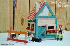 manualidades con #playmobil casita con palos de helado
