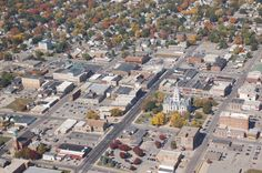 Aeriel shot of Marshalltown, Iowa