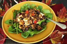 Sweet Autumn Salad has my favorite autumn flavors - roasted cinnamon butternut squash, cranberries and crisp apples topped with Balsamic Maple Dressing.