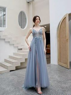 Blue gray evening dress spaghetti straps party dress tulle prom dress v-neck formal dress pure and fresh party dress on Storenvy Grey Evening Dresses, Backless Prom Dresses, Tulle Prom Dress, Formal Dresses, Blue Party Dress, Spaghetti Strap Dresses, Spaghetti Straps, Custom Dresses, V Neck Dress