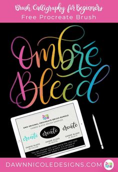 Free Procreate Brush: DND Ombré Bleed. Download a sample brush from my DND Procreate Brush Bundle. Plus, a free high-res watercolor paper background! #procreateapp #procreatelettering #ipadlettering #moderncalligraphy