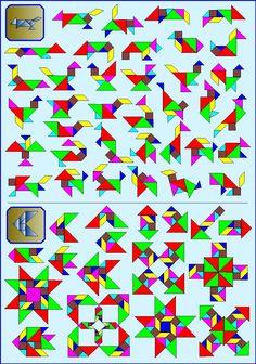 Puzzelen met ronde en vierkante tangrams - Vierkante tangram - Pagina KV9