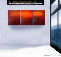 LARGE ABSTRACT Painting contemporary art modern fine art gallery triptych on canvas Title Cosmic Red Light Rush - Visit Carol Lee Art Studio
