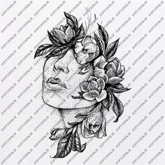 The Face in the Flowers Svg File-Woman Original Design-Wonan Clip Art-Woman Svg Files-Woman Clipart-Svg For Cricut-For Silhouette -DXF – EPS – tattoos for women half sleeve Unique Half Sleeve Tattoos, Quarter Sleeve Tattoos, Japanese Sleeve Tattoos, Full Sleeve Tattoos, Tattoo Sleeve Designs, Nature Tattoo Sleeve Women, Half Sleeve Tattoos Drawings, Hip Tattoo Designs, Tattoo Sleeves