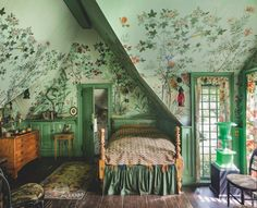 "Zuber: Two Centuries of Panoramic Wallpaper - The Glam Pad - ""Décor Chinois,"" the same paper Edith Wharton had in her Park Avenue apartment, graces ""Beau - Dream Rooms, Dream Bedroom, Fairytale Bedroom, Magical Bedroom, Forest Bedroom, Fantasy Bedroom, Fairytale Cottage, Aesthetic Room Decor, Cozy Aesthetic"