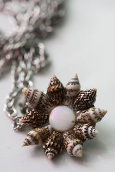 Brown and White Natural Shell Sun Pattern Beach Upcycled Pendant Necklace by CinnamonandSilver, $20.00