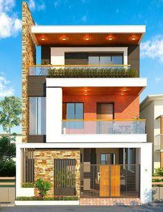 Narrow House Designs, Modern Small House Design, Modern Exterior House Designs, Dream House Exterior, Modern Architecture House, Exterior Design, 3 Storey House Design, Bungalow House Design, House Front Design