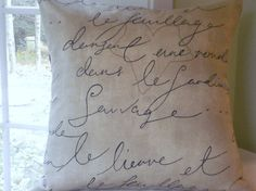 Decorative Pillow Cover --French Script --- Throw Pillow-Accent Pillow -Black-Brown Script on Neutral Background -