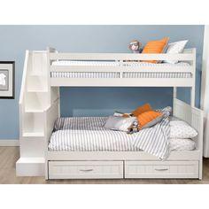 Best Bunk Beds: Lawanda Twin Over Full Standard Bed with Drawers Bunk Beds With Drawers, Bunk Beds With Storage, Bunk Bed With Trundle, Bunk Beds With Stairs, Bed Storage, Safe Bunk Beds, Full Bunk Beds, Kids Bunk Beds, Low Loft Beds