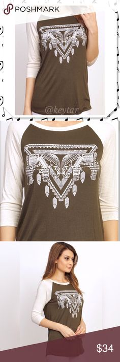 Come a Little Closer. Elephant Print Raglan Tee Elegant elephant printed raglan top with 3/4 contrasting sleeves. Such a comfortable and easy top to wear. Throw on with a pair of wide leg pants or your favorite comfy joggers. Boutique made in the U.S.A.   ❌ trades ❌ lowballs offer button Come a Little Closer- Cage the Elephant  Bundle 2 or more items and save 10% Pink Flamingo Boutique Tops Tees - Long Sleeve