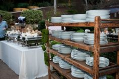 Display the place settings with the wooden rustic shelf Found Vintage Rentals