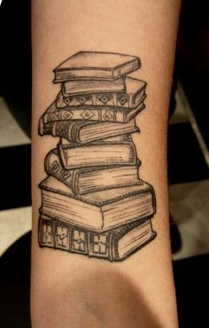 stack of books tattoo - Google Search