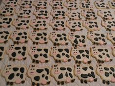 Cow Themed Sugar Cookies - Just a few of the 170 cow themed sugar cookies I did this week as wedding favors.