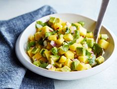 """""""With summer approaching, this refreshing mango-avocado salsa makes the perfect poolside snack or cookout appetizer served with plantain chips. Or add it to grilled fish, shrimp, or chicken for an extra boost of inflammation-fighting omega-3 fatty acids."""""""