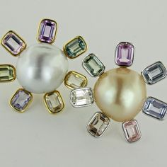 Taffin - South sea baroque pearls, sapphires, yellow gold and platinum ear clips.