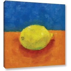 ArtWall Kevin Calkins Lemon with Blue and Orange Gallery-Wrapped Canvas, Size: 24 x 24