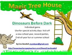 """Dinosaurs Before Dark"" Game - goes with Magic Tree House Book or Dinosaur theme."