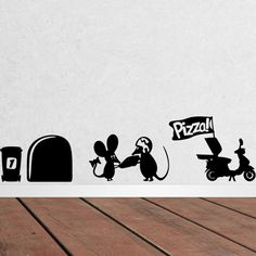 Pizza Delivery Domestic Rat Funny Wall Decal Stickers Home DIY Decor  Price: 3.95 & FREE Shipping  #pets #dog #doglovergifts