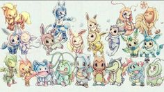 Pokemon wearing their evolution costumes