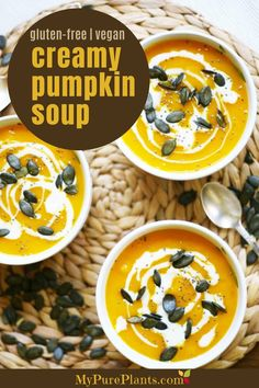 Fall is right around the corner, and we are bringing back everyone's favorite seasonal food: creamy pumpkin soup! It's the healthier version of the soup as all ingredients are vegan and gluten-free. Cream Of Pumpkin Soup, Vegan Pumpkin Soup, Pumpkin Recipes, Pumpkin Spice, Quick Vegan Meals, Vegan Recipes, Cream Soup Recipes, Vegetarian Soup, Vegan Soups