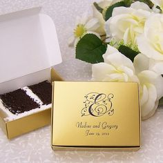 Send your guests home with a slice of wedding cake neatly packaged in personalized cake slice favor boxes. This 1/4 pound-size box will hold a traditional slice of wedding cake. Choose from 9 assorted box color options to complement your wedding colors and theme