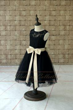 Robe de fille fleur de Tulle dentelle noire par Weddingcollection