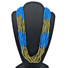 Vintage Jewelry 1980s Torsade. Boho Summer Necklace Gift for women Ethnic Mid century 3 Strands Enamel Necklace Colored Beads