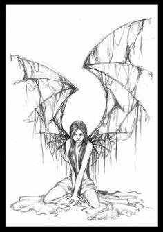 fallen angel drawing | fallen angel by bigbadglan traditional art drawings fantasy 2007 2013