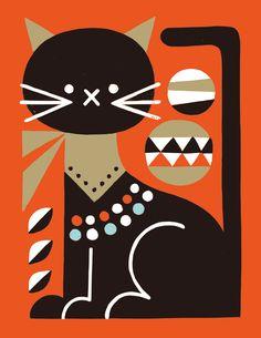 Animals 04 on Behance Cat Design, Animal Design, Illustrations, Illustration Art, Naive Art, Cat Drawing, Geometric Art, Pattern Art, Cat Art