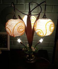 Mid Century Modern Lucite Spaghetti Lamp Atomic Retro Teak Eames 60'S