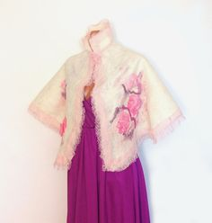 Nuno felted capelet wrap stole -Wedding Rose #felted #scarf #capelet #wrap #wedding # rose #pink #stole $79.00