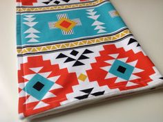 Teal and geometric design blanket.  So fab.