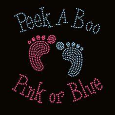 Baby Feet Boy Girl Peek a Boo maternity Rhinestone Transfer Iron On Applique Bling Crystal via Etsy