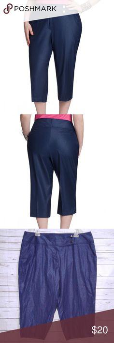 "Ashley Stewart Shimmer Ocean Blue Twill Capri Ashley Stewart Twill Capri Cropped Pants Shimmer Ocean Blue Stretch Size 18 Measurements: Waist 38"" Inseam 21"" Length 31"" Condition: New with Tags Ashley Stewart Pants Capris"