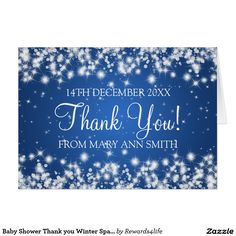 Baby Shower Thank you Winter Sparkle Blue Card
