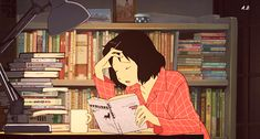 """Books are adventure. Anime Gifs, Manga Anime, Anime Art, Read Anime, Wolf Children, Anime Scenery Wallpaper, Cartoon Profile Pictures, A Silent Voice, Aesthetic Gif"