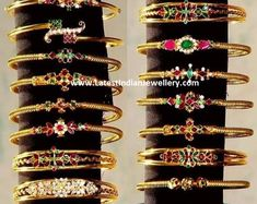 Checkout the lightweight range of gold kada bracelet bangles with rubies, emeralds and CZs from anitha Gold Bangles Design, Gold Jewellery Design, Antique Jewellery Designs, Diamond Necklace Set, Gold Jewelry Simple, Bracelets, Rings, Wedding, Roof Tiles