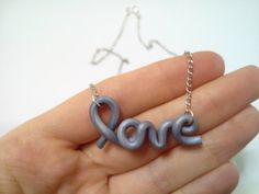 Love silver necklace handwritten jewelry handcrafted by youfimo