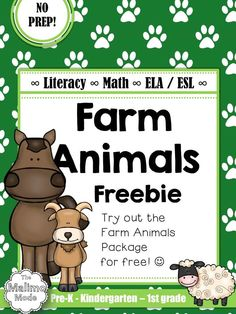 FREEBIE Farm Animals Vocabulary, Math and Literacy Package [ELA + ESL] [No Prep]  This is a FREEBIE sample of the FULL Farm Animal Package. A selection of 18 pages from the available 70+ pages can be found in the sample.