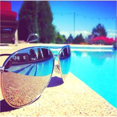 Reflective sunglasses by the pool! #sunglasses #reflection #pool #mirror