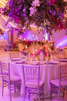 Greek themed wedding with beautiful pastel colours, colors, hanging arrangements, delphiniums, orchids, hydrangeas, roses, bougainvillea, suspended florals Delphiniums, Hydrangeas, Greek Wedding, Our Wedding, Reception Ideas, Wedding Reception, Purple Wedding, Wedding Flowers, Pastel Colours