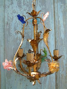 Antique French gilded chandelier with Murano glass flowers. 1930s