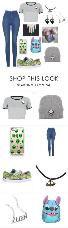 """Aliens are real👽"" by yvette1118 ❤ liked on Polyvore featuring WithChic, Casetify, Topshop, Vans, Disturbia and Disney"