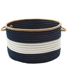 Colonial Mills Baja-Stripe Basket Home -  Cleaning & Organization - Macy's Rope Basket, Basket Bag, Basket Weaving, Bamboo Basket, Book Baskets, Storage Baskets, Easy Storage, Colonial, Navy Home Decor