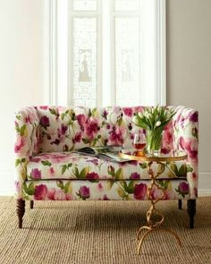 pink & green floral print couch