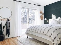 neutral modern boho bedroom decor with navy blue shiplap - Master Bedroom Design & Guest Bedroom Design - Modern Master Bedroom, Master Bedroom Design, Minimalist Bedroom, Trendy Bedroom, Home Bedroom, Bedroom Ideas, Blue Bedroom Decor, Home Trends, Guest Bedrooms