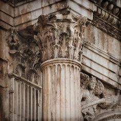 What Is a Corinthian Column?: Corinthian Column Detail of Constantine's Arch, Rome, 315 AD. Photo by Gregor Schuster / Photographer's Choice / Getty Images Architectural Elements, Ancient Greece, Corinthian Columns, Abandoned, Rome, Statue, History, Antiques, Pictures
